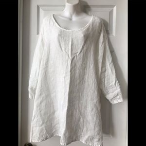 FLAX WHITE EYELET LINEN LONG SLEEVE TUNIC TOP L